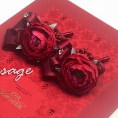 Nice Seda artificiais/Strass Conjuntos de flores (conjunto de 2) - Buquê de pulso/Alfinete de lapela