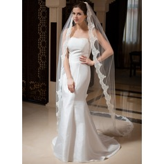 One-tier Cathedral Bridal Veils With Lace Applique Edge (006035875)