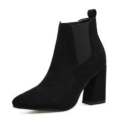 Kvinner Semsket Stor Hæl Lukket Tå Støvler Ankelstøvler med Elastisk bånd sko