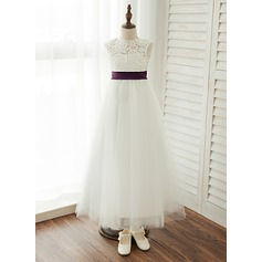 A-Line/Princess Floor-length Flower Girl Dress - Satin/Tulle/Lace Sleeveless Scoop Neck With Sash (010122546)