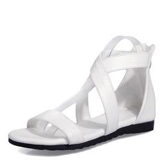 Vrouwen Kunstleer Flat Heel Sandalen Flats Peep Toe Enkel Laarzen met Rits schoenen