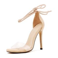 Femmes PU Caoutchouc Talon stiletto Sandales Escarpins avec Bowknot Dentelle chaussures
