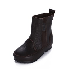 девичий Настоящая кожа Плоский каблук Круглый носок Ботинки