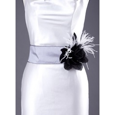 Simple Taffeta Sash With Flower/Feather (015003401)