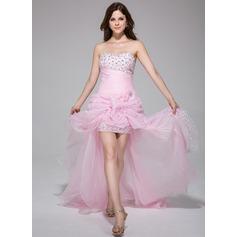 Vestidos princesa/ Formato A Coração Assimétrico Organza de Vestido de baile com Pregueado Bordado fecho de correr