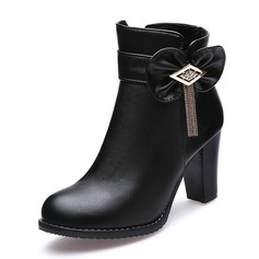 Women's Leatherette Chunky Heel Pumps Closed Toe Boots Ankle Boots With Bowknot Tassel shoes