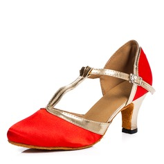 Women's Fabric Pumps Ballroom With T-Strap Dance Shoes