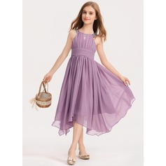 A-Line Scoop Neck Tea-Length Chiffon Junior Bridesmaid Dress With Ruffle Beading Bow(s)