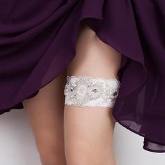 Elegante Renda com Strass/Pérolas de imitação casamento Ligas