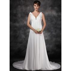 Forme Princesse Col V Traîne moyenne Mousseline Robe de mariée avec Plissé Broche en cristal À ruban(s)