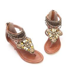 Konstläder Kilklack Sandaler med Tofs skor