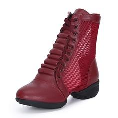 Frauen Kunstleder Mesh Stiefel Moderner Style Jazz Sneakers Tanzstiefel Tanzschuhe