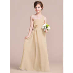 A-Line One-Shoulder Floor-Length Chiffon Junior Bridesmaid Dress With Ruffle Flower(s) (009097065)