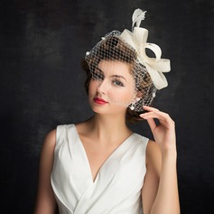 Damene ' Enkel Cambric/Fjær/Tyll med Fjær Fascinators/Tea Party Hats (196105064)
