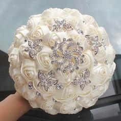 Round Satin/Rhinestone Bridal Bouquets (Sold in a single piece) -