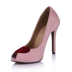 Замша Высокий тонкий каблук Сандалии Открытый мыс обувь