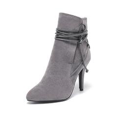 Mulheres Camurça Salto agulha Bombas Fechados Botas Bota no tornozelo com Aplicação de renda sapatos (088095293)