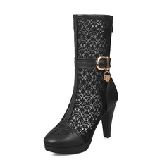 Women's Leatherette Mesh Stiletto Heel Boots Mid-Calf Boots With Buckle shoes