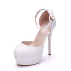 Women's Leatherette Stiletto Heel Closed Toe Platform Pumps Sandals MaryJane With Buckle