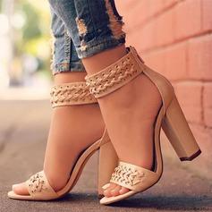 Donna PU Tacco spesso Sandalo Stiletto Punta aperta con Spalline intrecciate scarpe