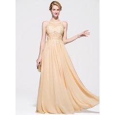 Vestidos princesa/ Formato A Decote redondo Longos Tecido de seda Vestido de baile com Beading Apliques de Renda lantejoulas