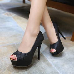 Kvinnor Konstläder Stilettklack Plattform Peep Toe skor