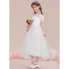 A-Line Scoop Neck Tea-Length Tulle Junior Bridesmaid Dress