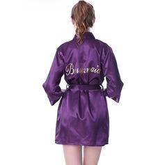 Personalizado Satén Dama de honor Batas con estampado de purpurina
