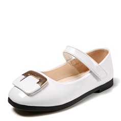 Fille de Bout fermé Ballet plat Cuir verni talon plat Chaussures plates Chaussures de fille de fleur avec Strass Velcro