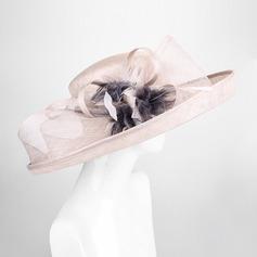 Dames Charme/Style Vintage Batiste avec Feather/Une fleur Chapeau melon / Chapeau cloche/Kentucky Derby Des Chapeaux/Chapeaux Tea Party