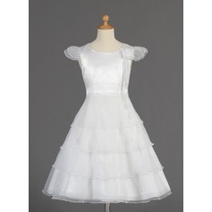 A-Line/Princess Tea-length Flower Girl Dress - Organza/Charmeuse Short Sleeves Scoop Neck With Beading/Flower(s)/Bow(s)