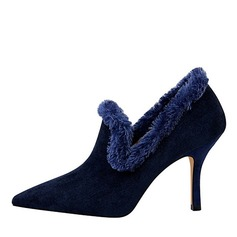 Women's Suede Stiletto Heel Pumps Closed Toe With Faux-Fur shoes