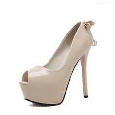 Femmes PU Talon stiletto Escarpins Plateforme À bout ouvert avec Bowknot chaussures
