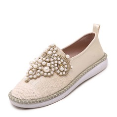 Women's Lace PU Flat Heel Flats Closed Toe With Rhinestone Imitation Pearl shoes