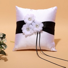 Square Ring Pillow in Satin With Ribbons/Rhinestones/Flowers