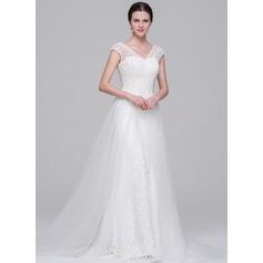 Трапеция/Принцесса V-образный Церемониальный шлейф Съемный Тюль кружева Свадебные Платье