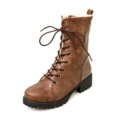 Women's Leatherette Low Heel Pumps Closed Toe Boots Mid-Calf Boots Snow Boots Martin Boots With Lace-up shoes