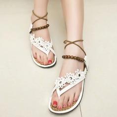 Kvinnor Konstläder Flat Heel Sandaler Peep Toe Slingbacks med Beading Kedja Bandage Blomma skor