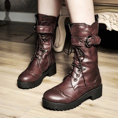 Women's Leatherette Chunky Heel Flats Closed Toe Mid-Calf Boots With Buckle Lace-up shoes