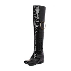Women's Patent Leather Low Heel Closed Toe Boots Knee High Boots Over The Knee Boots With Buckle shoes