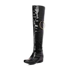 Donna Pelle verniciata Tacco basso Punta chiusa Stivali Stivali al ginocchio Stivali sopra il ginocchio con Fibbia scarpe