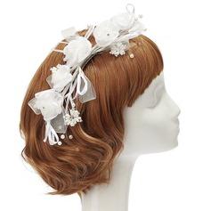 Fantasía Perlas de imitación/Seda artificiales Flores y plumas