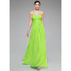A-Line/Princess Sweetheart Floor-Length Chiffon Prom Dress With Ruffle Beading Sequins