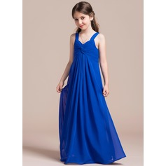 Empire Sweetheart Floor-Length Chiffon Junior Bridesmaid Dress With Ruffle