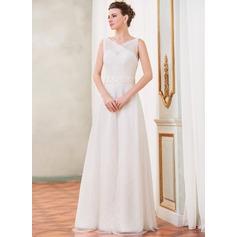 Vestidos princesa/ Formato A Decote V Longos Tule Renda Vestido de noiva com Pregueado Bordado Lantejoulas Curvado