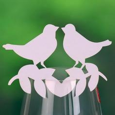 Kärlek Fågel Pärla Papper Placeringskort (sats om 12)