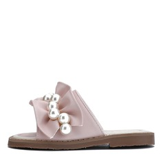 Girl's Peep Toe Slingback Leatherette Slippers Flower Girl Shoes With Ruffles Pearl