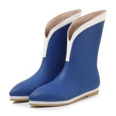 Kvinder PU Flad Hæl Mid Læggen Støvler med Delt Bindeled sko
