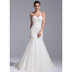 Trumpet/Mermaid Sweetheart Court Train Tulle Lace Wedding Dress With Sequins (002071755)