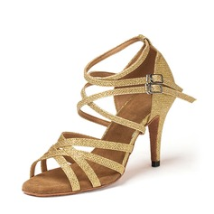 Женщины Мерцающая отделка Сандалии Латино Обувь для танцев